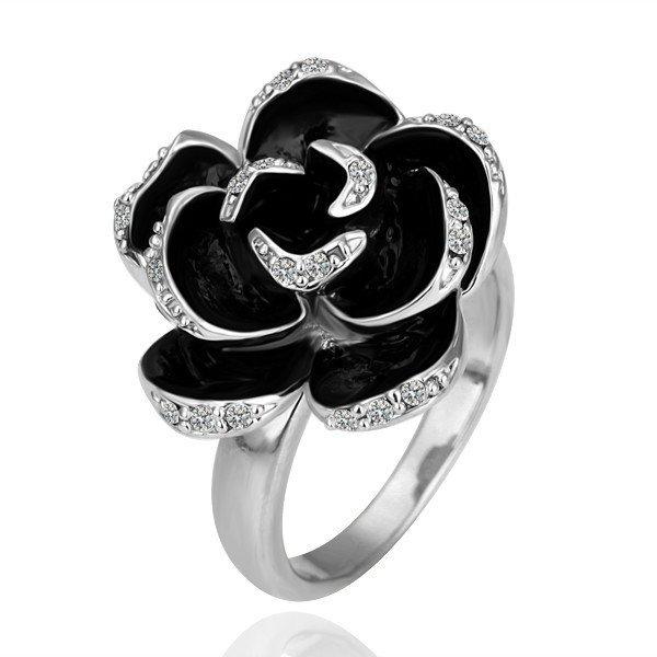 18KGP R090 BlackRose18K Platinum Plated Ring Nickel Free Ring size6/7/ 8