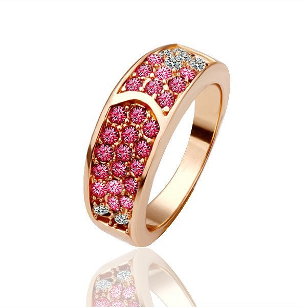 18KGP R025 Red-Crystal18K Gold Plated Ring Nickel Free Crystal SWA Element,Ring size 8