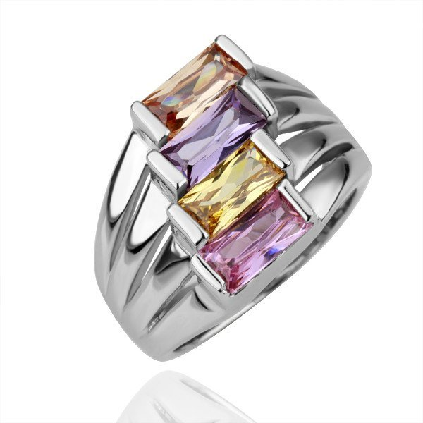 18KGP R103 Four Color Crystal 18K Platinum Plated Ring Nickel Free Crystal SWA Element,Ring size 8