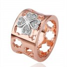 18KGP R132 Four-Leaf-Clover 18K Gold Plated Ring Nickel Free, Crystal SWA Element ,Ring size 8