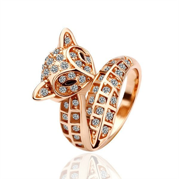 18KGP R026 18K Gold Plated Fox Ring,Nickel Free Crystal SWA Element,Ring size 8