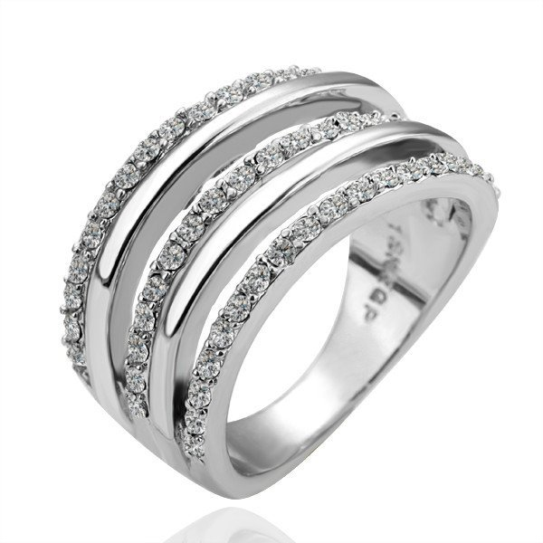 18KGP R068 18K Platinum Plated Ring,Nickel Free,Alternate with Lines,Ring size 8