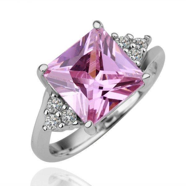 18KGP R097 Pink-square Crystal 18KPlatinum Plated Ring Nickel Free SWA Element,Ring size6/7/ 8