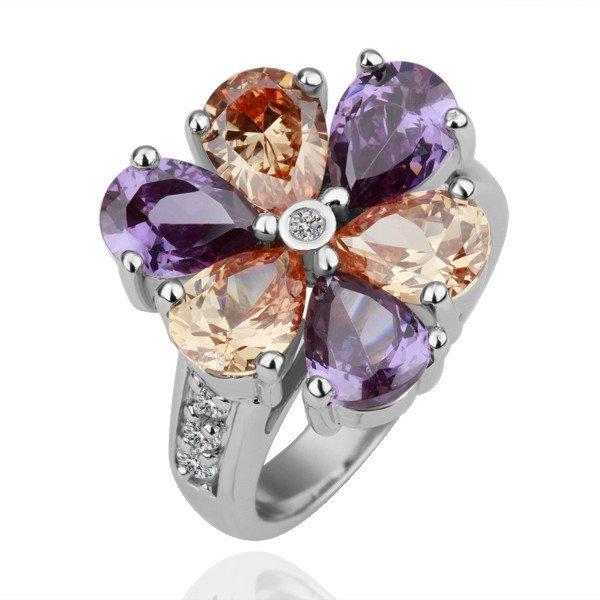 18KGP R110 Six-Leaf Flower 18K Platinum Plated Ring,Nickel Free  SWA Element,Ring size 8