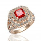 18KGP R064 18K Gold Plated Ring,Nickel Free, SWA Element Red-Stone,Ring US-size 8