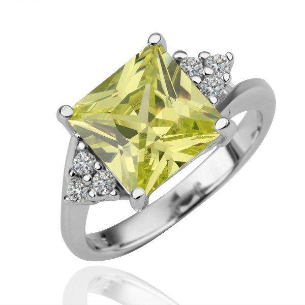 18KGP R095 Yellow-Square Crystal 18K Platinum PlatedRing,Nickel Free,Ring size6/7/ 8
