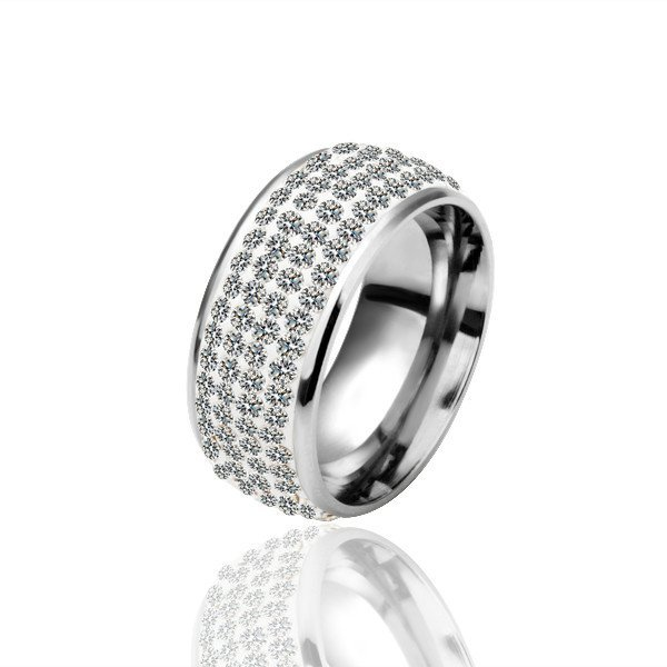 18KGP R020 All Clear Crystal 18KPlatinum Plated Ring, Nickel Free,SWA Element,Ring US-size 8