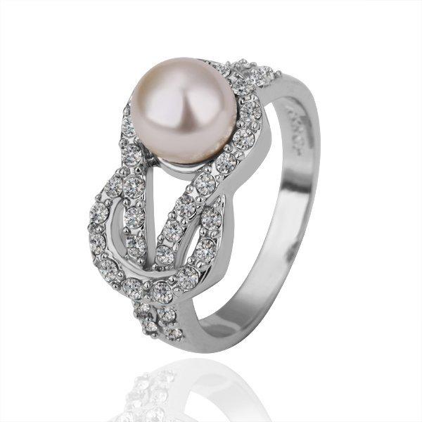 18KGP R141 Pearl 18KPlatinum Plated Ring Nickel Free SWA Element,Ring US-size 8