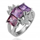 18KGP R113 Three Purple Crystal 18K Platinum Plated Ring Nickel Free SWA Element,Ring US-size 8