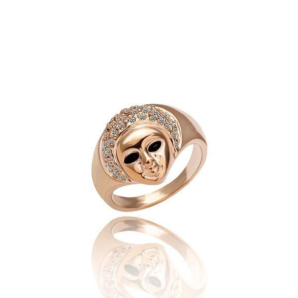 18KGP R006 Men Face 18K Gold Plated Ring Nickel Free Platinum Rhinestone,Ring US-size 8