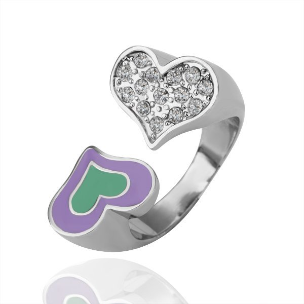 18KGP R138 Two Heart Romantic 18K Platinum Plated Ring Nickel Free Plating Platinum,Ring US-size 8
