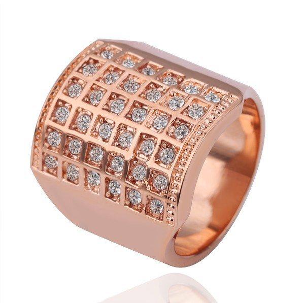 18KGP R125 18K Gold Plated Ring Nickel Free K Golden Plating Platinum Rhinestonet,Ring US-size 8