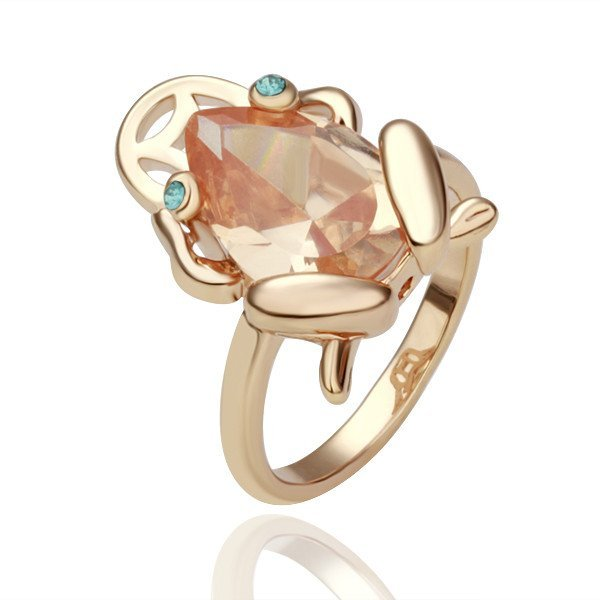 18KGP R058 Frog18K Gold Plated Ring  Nickel Free K Golden Plating Platinum Rhinestone,Ring US-size 8