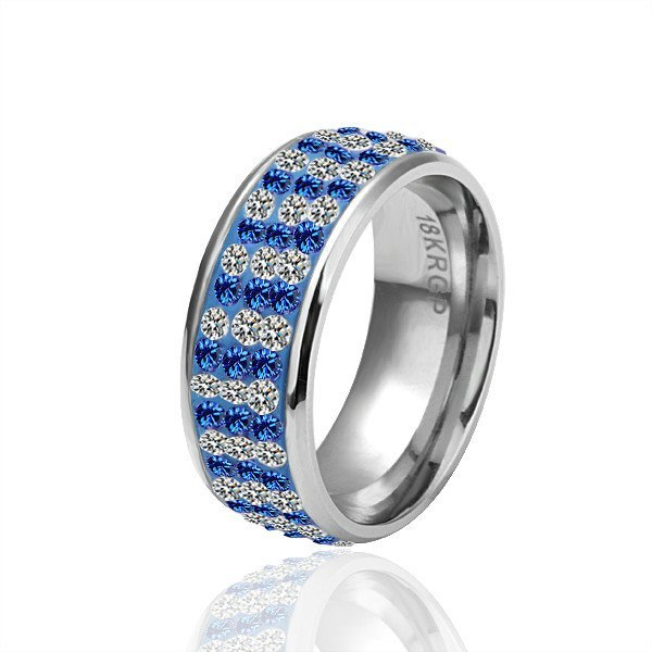 18KGP R034 Copper with 18K Platinum Plated rings,nickel free,Rhinestone Blue,Ring US-size 8