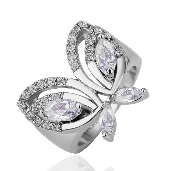 18KGP R137 Butterfly18K Platinum Plated Ring  Nickel Free,Rhinestone,Ring US-size 8