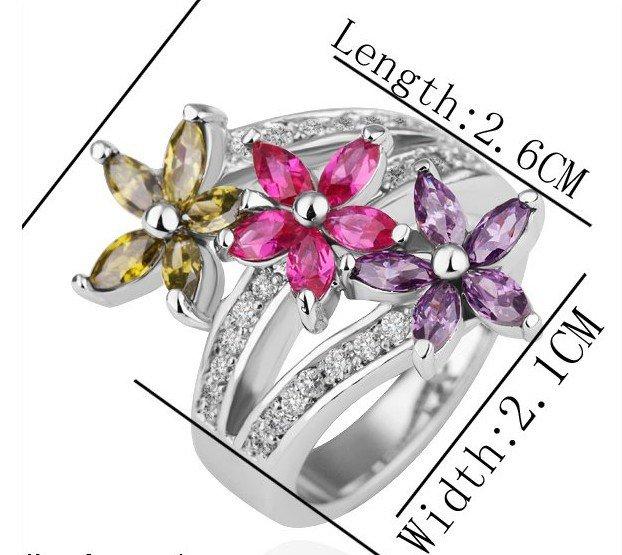 18KGP R211 Flower 18K Platinum Plated Ring Nickel Free K Golden Plating Platinum ,Ring US-size 8