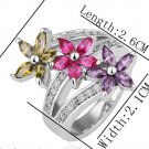 18KGP R211 Flower 18K Platinum Plated Ring Nickel Free K Golden Plating Platinum ,Ring US-size 8