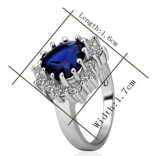 18KGP R218 Blue 18K Platinum Plated Ring Nickel Free K Golden Plating Platinum,Ring US-size 6/7/8