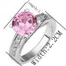 18KGP R194 Pink 18K Platinum Plated Ring Nickel Free Rhinestone,Ring US-size 8