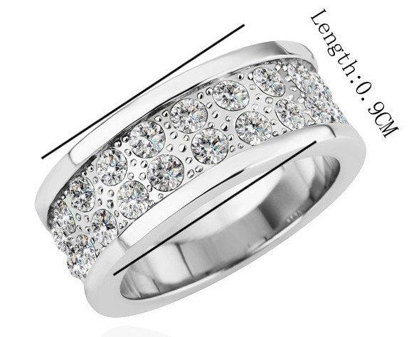 18KGP R165 18K Platinum Plated Ring Nickel Free K Golden Plating Platinum Rhinestone,Ring US-size 8