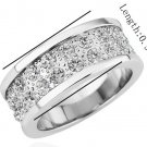 18KGP R165 18K Platinum Plated Ring Nickel Free K Golden Plating Platinum Rhinestone,Ring US-size 8