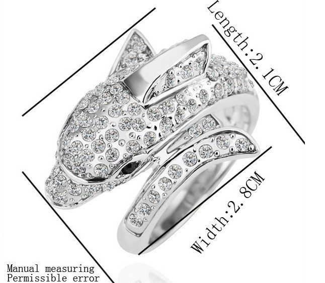 18KGP R168 Dolphin 18K Platinum Plated Ring Nickel Free Rhinestone,Ring US-size 8