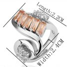 18KGP R202 Orange Crystal 18K Platinum PlatedRing Nickel Free Rhinestone ,Ring US-size 8