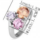 18KGP R196 Three Crystal 18K Platinum Plated Ring Nickel Free  Rhinestone ,Ring US-size 8