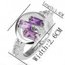 18KGP R207 18K Platinum PlatedRing Nickel Free K Golden Plating Rhinestone ,Ring US-size 8