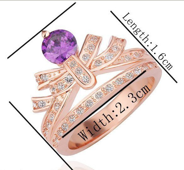18KGP R230 Purple Crown 18K Platinum Plated Ring Nickel Free Rhinestone,Ring US-size 8