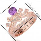 18KGP R230 Purple Crown 18K Platinum Plated Ring Nickel Free Rhinestone,Ring US-size 8
