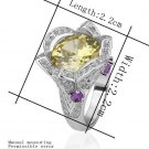 18KGP R224 Yellow Flower 18K Platinum Plated Ring Nickel Free Rhinestone,Ring US-size 8