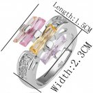 18KGP R208 18K Platinum Plated Ring Nickel Free K Golden Plating Rhinestone ,Ring US-size 8