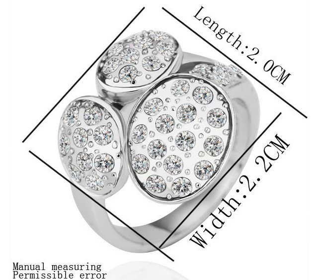 18KGP R183 18K Platinum Plated Ring Nickel Free K Golden Plating Platinum ,Ring US-size 8