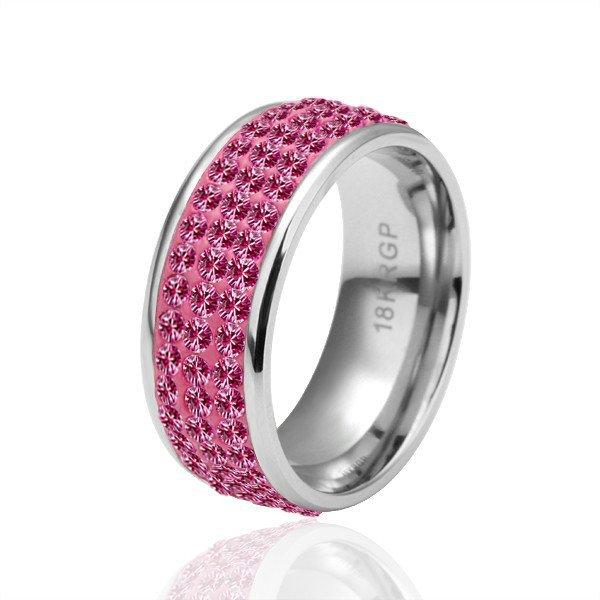 18KGP R038 Roseo Crystal 18K Platinum PlatedRing  Nickel Free Plating ,Ring US-size 8