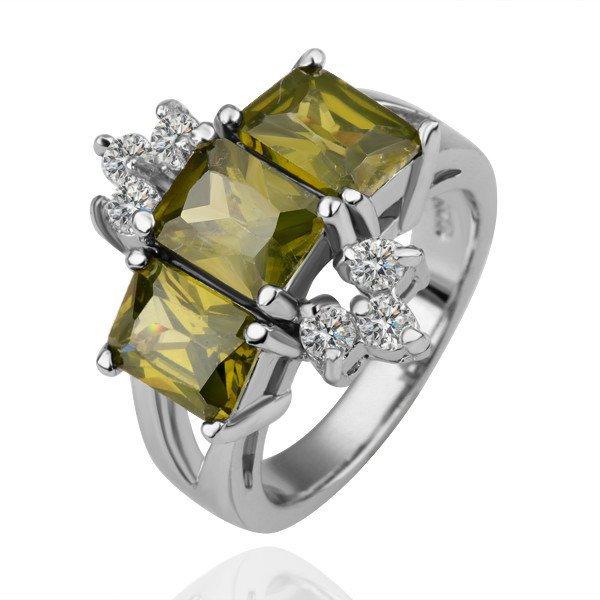 18KGP R112 GreenCrystal18K Platinum Plated Ring Nickel Free K Golden Plating,Ring US-size 8