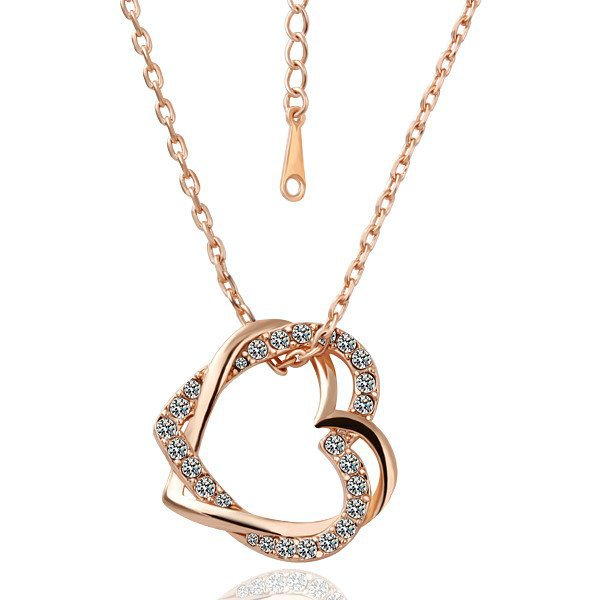 18KGP N007 Double Hearts 18K Gold Plated Plating Necklace Nickel Free Rhinestone Pendant