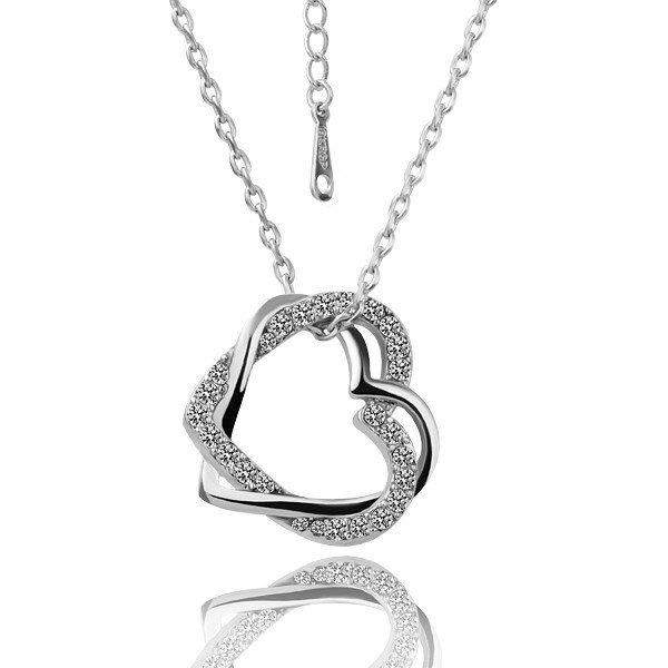 18KGP N006 Two Hearts18K Platinum Plated Plating Platinum Necklace Rhinestone Pendant