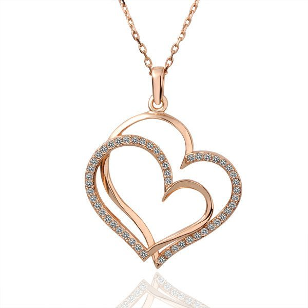 18KGP N003 Double Hearts,18K Gold Plated Necklace Pendant Nickel Free