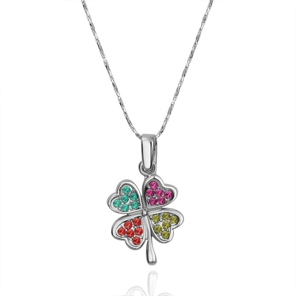 18KGP N114 N115 Clover Necklace 18K K Gold Plated Fashion Jewellery Nickel Free Necklace Rhinestone