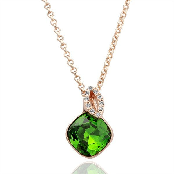 18KGP N058 Healthy Green 18K Gold Plated Pendant Necklace Nickel Free Rhinestone Green-stone