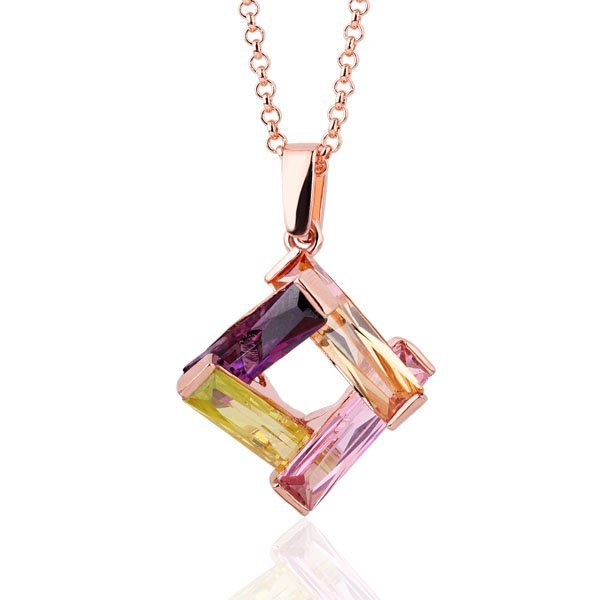 18KGP N238 Multicolour Crystal Necklace 18K K Gold Plated Nickel Free  Rhinestone