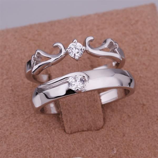 ER016 Platinum Plated Set,gemstone silver Rings,Rings Size Female7-16,Male13-24
