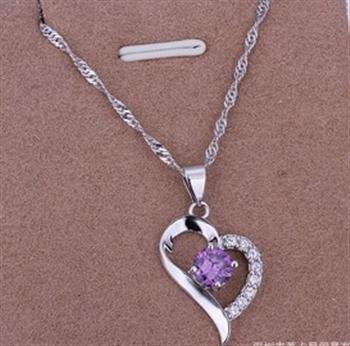 PD010 Platinum Plated Silver Necklace,necklace length approximately18~20 inches