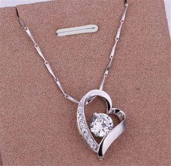 PD012 Platinum Plated Silver Necklace,necklace length approximately18~20 inches