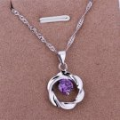 PD015 Platinum Plated Silver Necklace,necklace length approximately18~20 inches