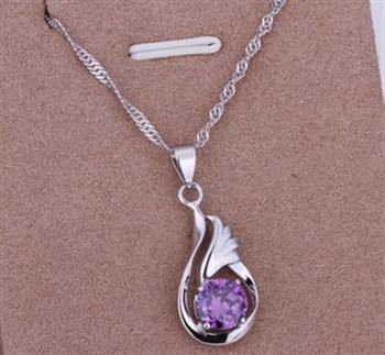 PD022  Platinum Plated Silver Necklace,necklace length approximately18~20 inches