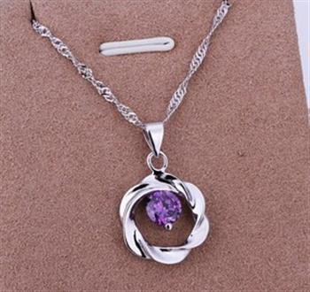 PD023  Platinum Plated Silver Necklace,necklace length approximately18~20 inches