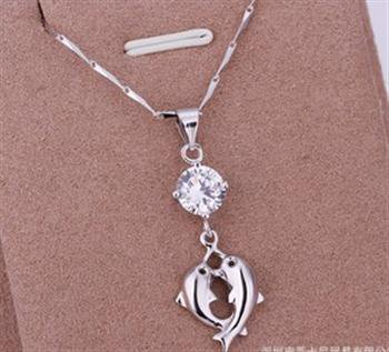 PD025 Platinum Plated Silver Necklace,necklace length approximately18~20 inches