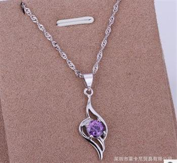 PD030 Platinum Plated Silver Necklace,necklace length approximately18~20 inches